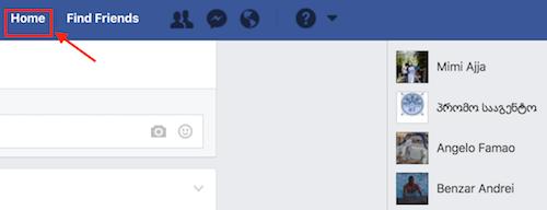 登录Facebook来到Home页面
