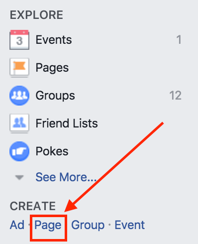 点击左侧栏Page创建