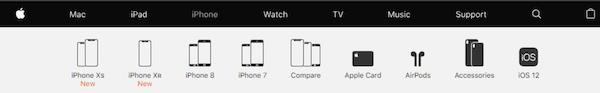 Apple的官网主产品页选项