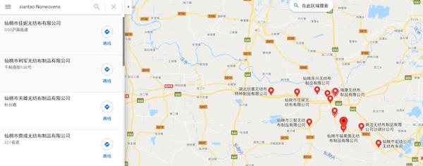 利用谷歌地图搜索仙桃地区的相关供应商