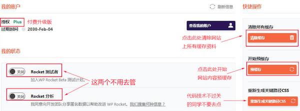 WP Rocket的仪表盘功能